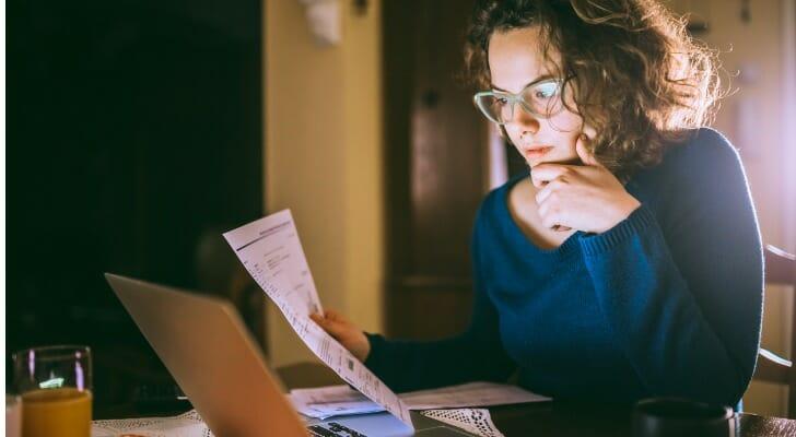 Woman prepares her tax returns